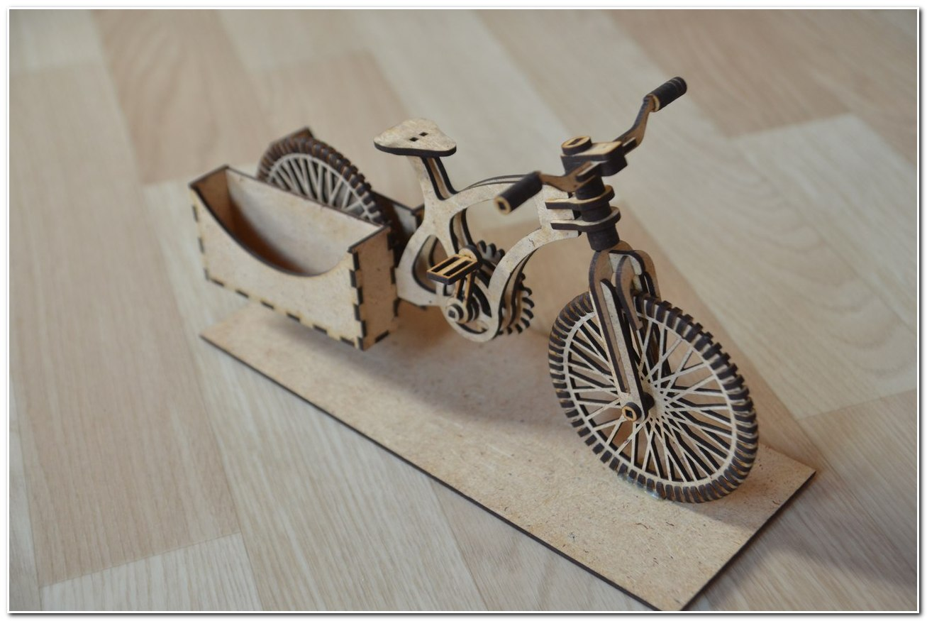Bike Wooden Organizer 3D Puzzle DXF File