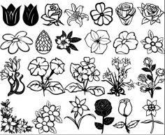 Flowers and Roses vectors DXF File