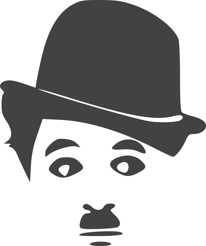 Charlie Chaplin Silhouette Vinyl Sticker dxf File
