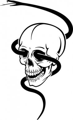 Skull With Black Snake Bike Sticker Free Vector