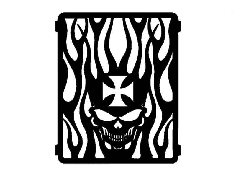 Flaming Skull dxf File