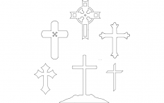 Christian Cross Collection dxf File