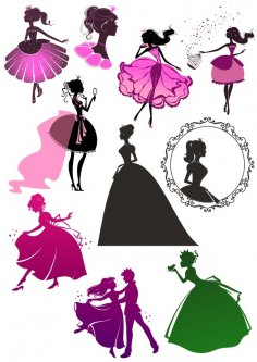 Wall Decal Sticker Princess Girl Beautiful Cinderella CDR File