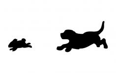 Beagle catching Rabbit dxf File