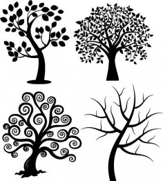 Spiral Tree Silhouette Vectors EPS File