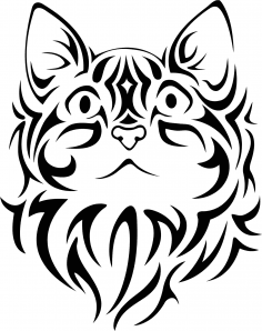 Pretty Tribal Cat Face Silhouette Vector Free Vector