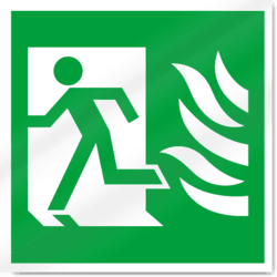 High Safety Fire Exit Symbol with Flames Left Sign-2930.dxf