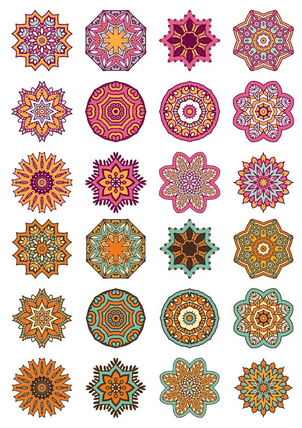 Mandala Ornaments Circles Vector Set Free Vector