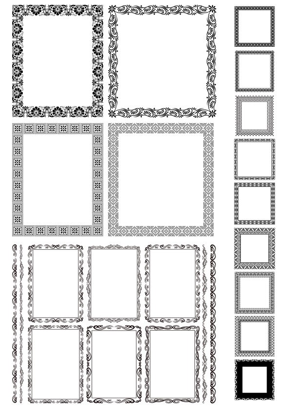 Rectangle Decor Frame with Border Vector Set Free Vector