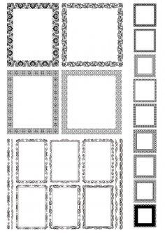 Rectangle Decor Frame with Border Vector Set Free Vector