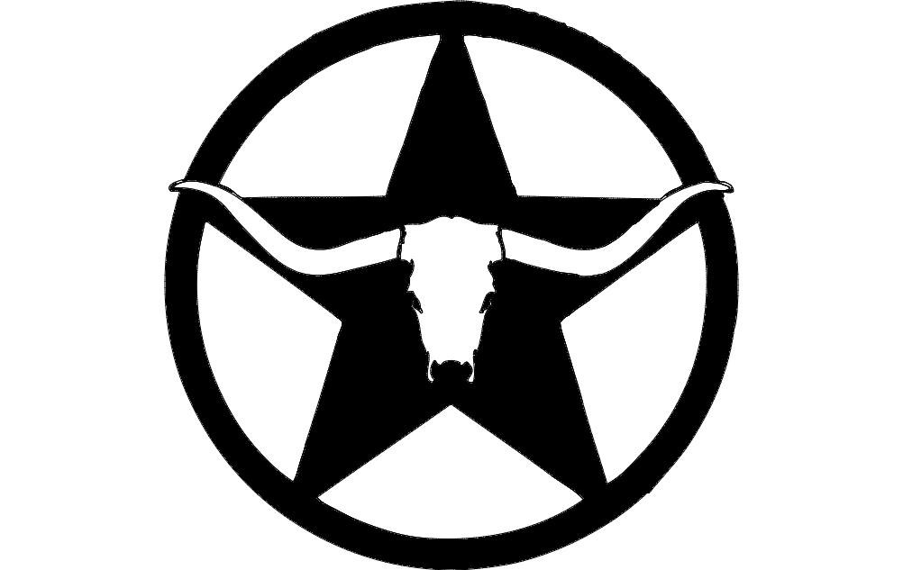western longhorn star wall art dxf File