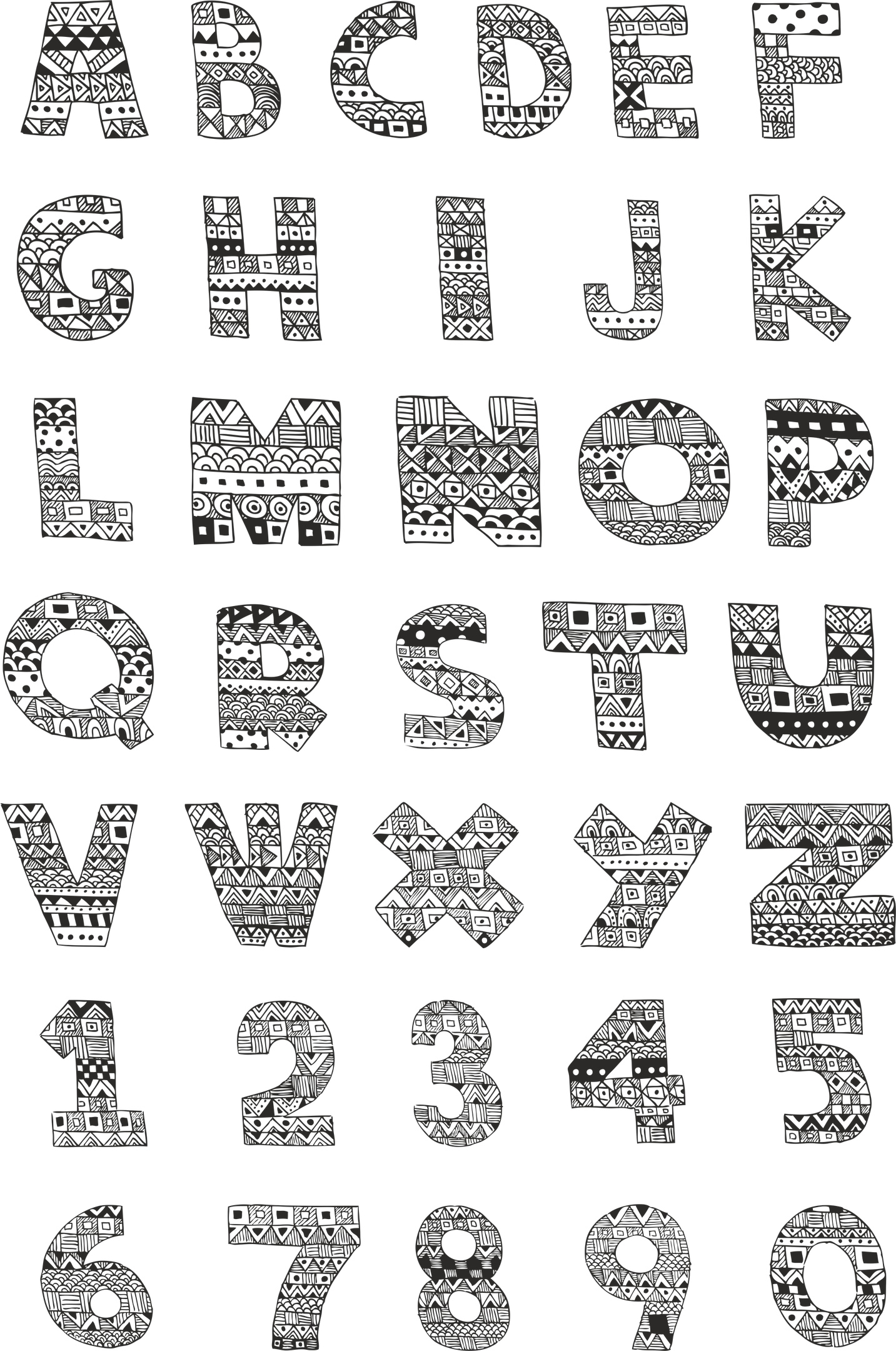 Handdrawn Ornamented Alphabet Pack Free Vector