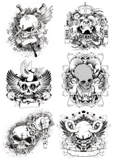 Horrible Skulls Free Vector