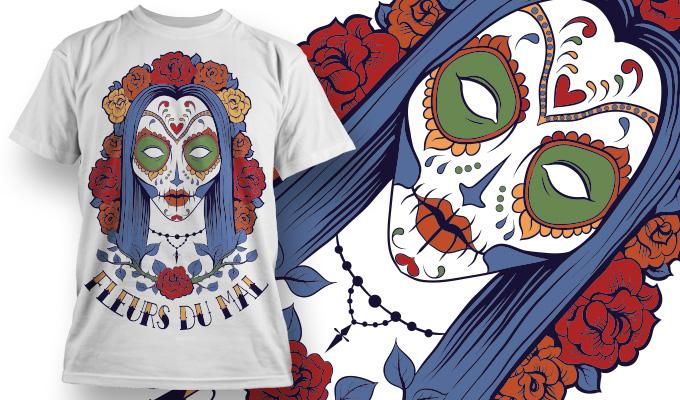Fleurs du Mal Free T-shirt Design Vector Free Vector