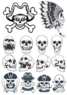 Dotwork Skulls Vector Art Free Vector