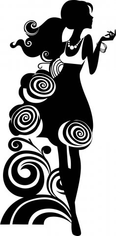 Silhouette Of Elegant Woman Vector Free Vector