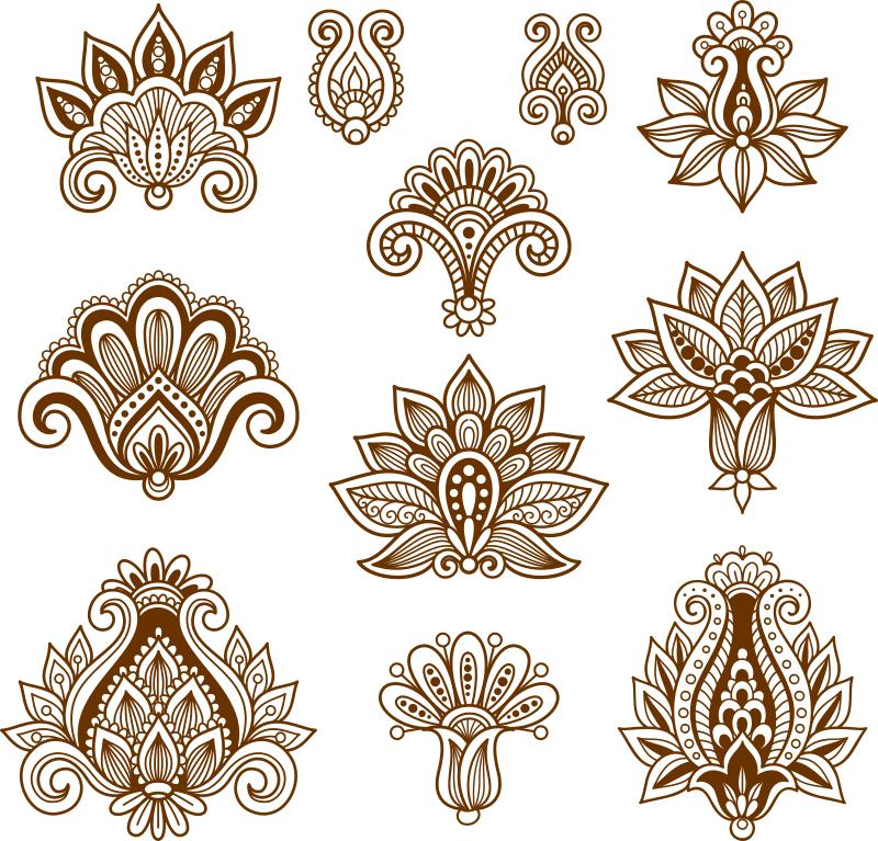 Vector Handdrawn Abstract Henna Mehndi Paisley Free Vector