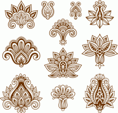 Vector Handdrawn Abstract Henna Mehndi Paisley CDR File
