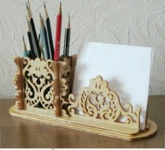 Laser Cut Pencil Holder Pad Organizer Free Vector