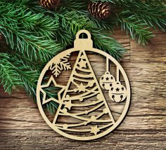 Laser Cut Wooden Christmas Hanging Decoration Free Vector