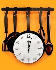 Laser Cut Kitchen Ware Wall Clock Free Vector