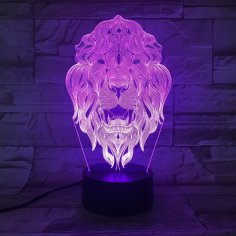 Laser Cut Acrylic 3D Lion Animal Night Light Free Vector