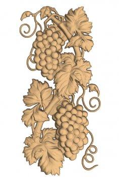 Grape Cluster Wood Carved STL Model for CNC Engrave Stl File