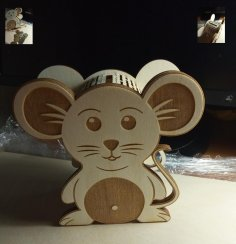 Laser Cut Mouse Piggy Bank Template Free Vector