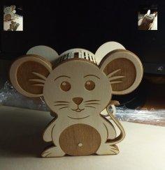 Laser Cut Mouse Piggy Bank Template Free Vector
