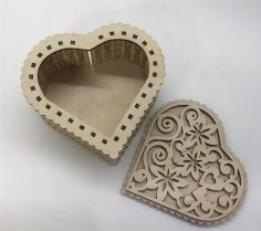 Laser Cut Plywood Heart Shaped Box Template Free Vector