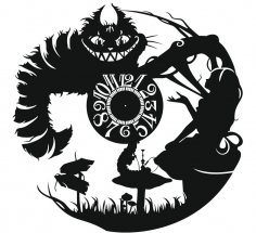Laser Cut Alice Vinyl Wall Clock Free Vector