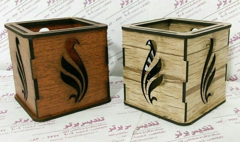 Laser Cut Wooden Pen Holder Free Vector
