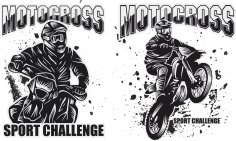 Motocross Prints Free Vector