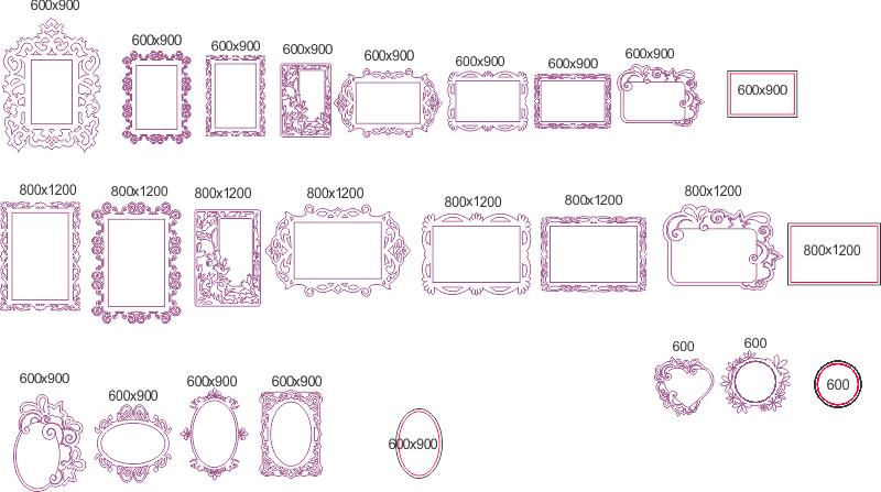 Elegant Mirror Frame Set DXF File