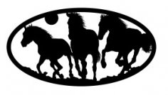 Three Horses oval dxf file