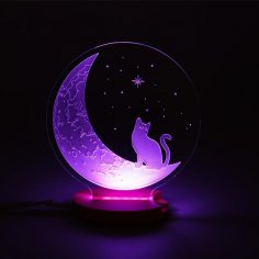 Laser Cut The Cat And The Moon 3D Illusion Night Light DXF File