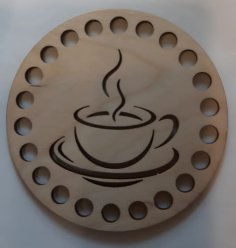 Laser Cut Wooden Engraved Coffee Coaster Free Vector