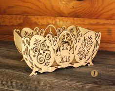 Laser Cut Basket for Easter Eggs Free Vector