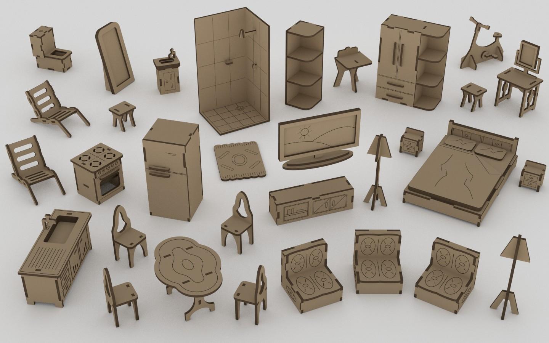 Mini Kit Furniture Dollhouse Laser Cut Mdf 3mm Free Vector