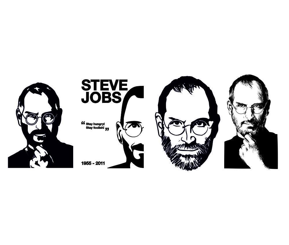 Steve Jobs Sticker Stencil Line Art Free Vector