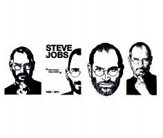 Steve Jobs Sticker Stencil Line Art Free Vector
