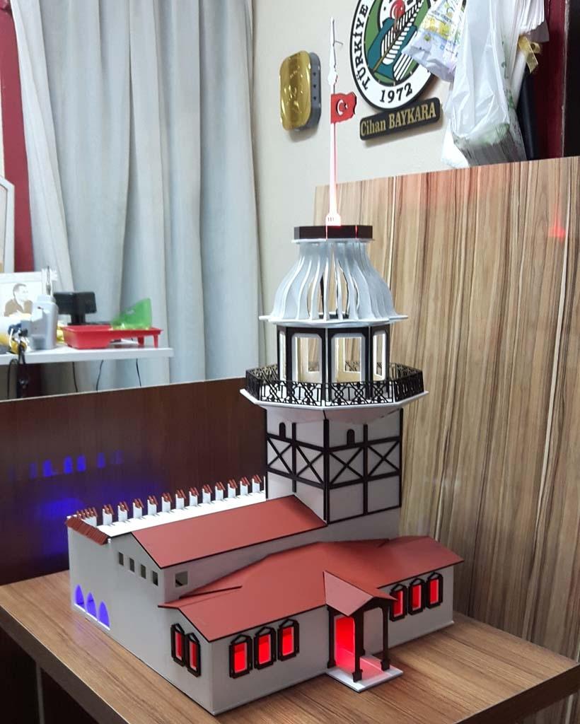 Laser Cut Maidens Tower Istanbul Turkey Kiz Kulesi Free Vector