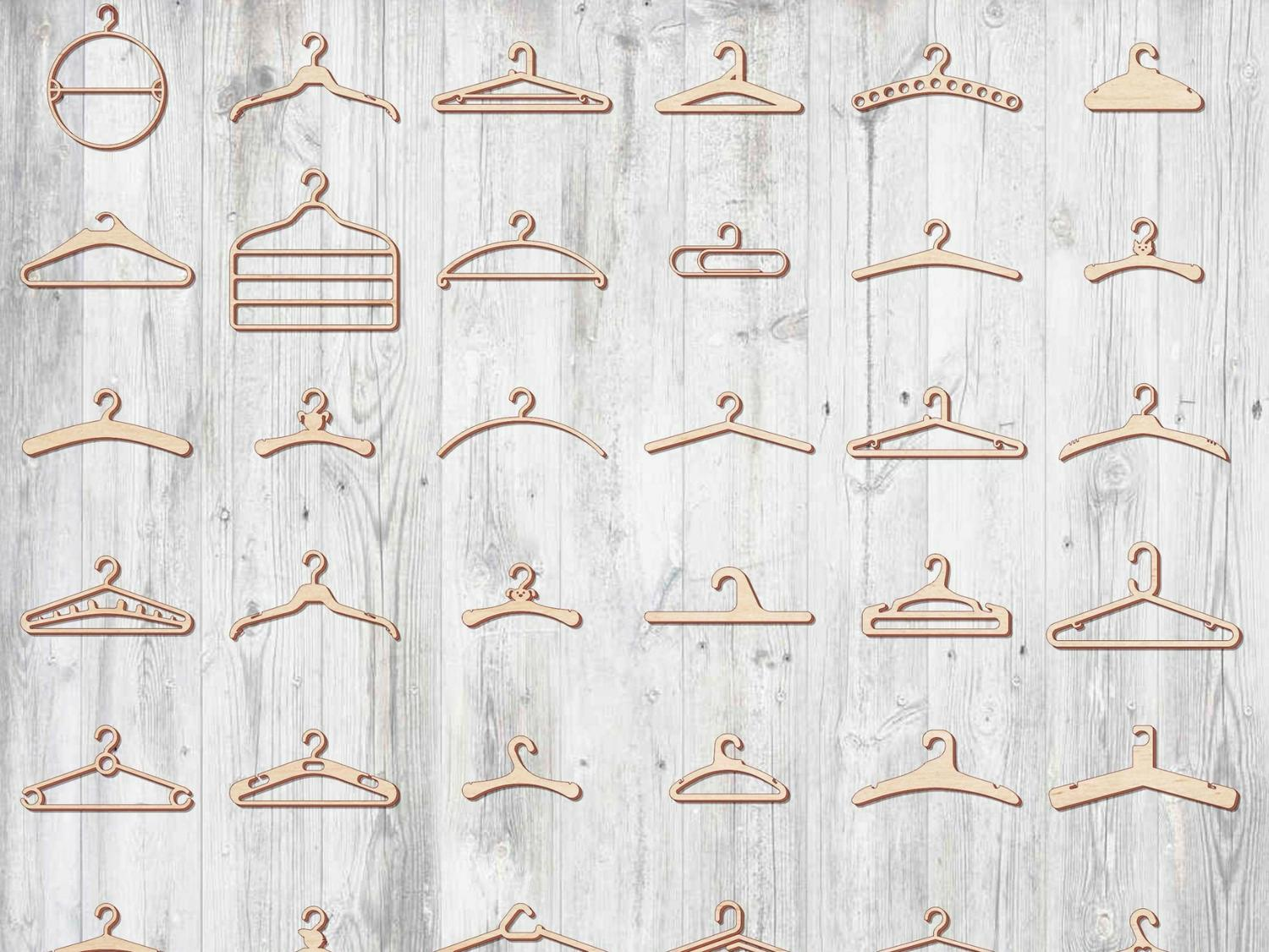 Laser Cut Custom Wooden Clothing Hangers Templates Free Vector