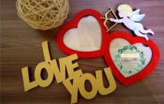 Laser Cut I Love You Photo Frames Free Vector