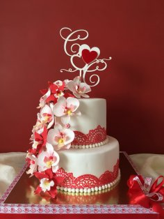 Laser Cut Wedding Cake Topper With Hearts Template Free Vector