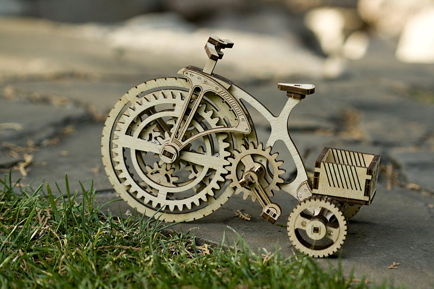 Laser Cut Wooden Mechanical Bike DXF File