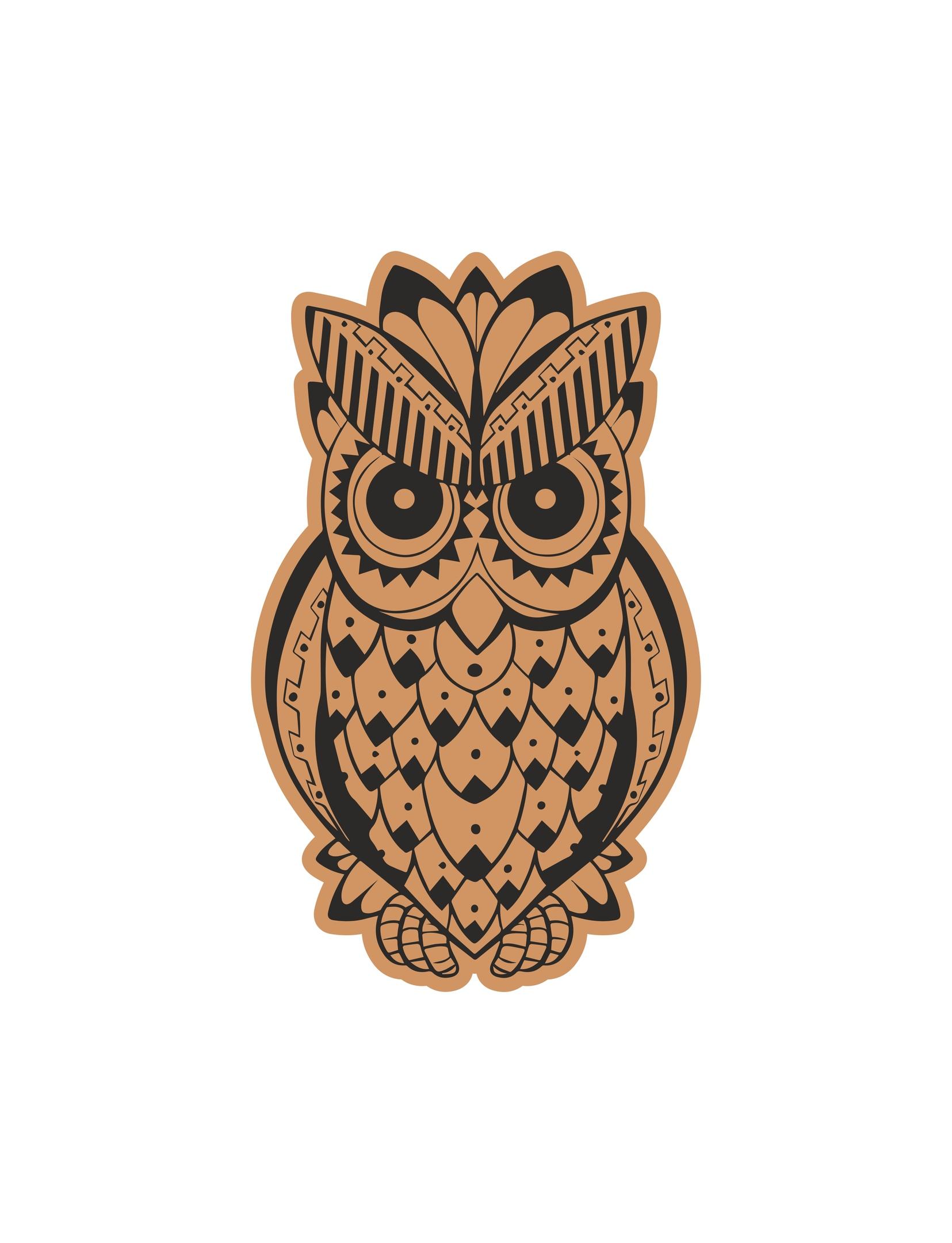 Decorative Cute Owl Laser Cut Engraving Template Free Vector