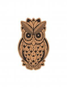 Decorative Cute Owl Laser Cut Engraving Template Free Vector