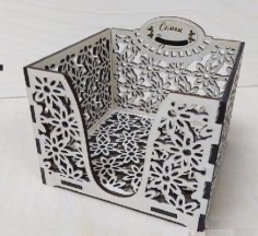 Napkin Holder Square Box Laser Cutting Template Free Vector