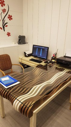 Laser Cut Wave Glass Table DWG File
